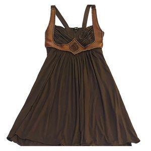 Sky brown swing dress